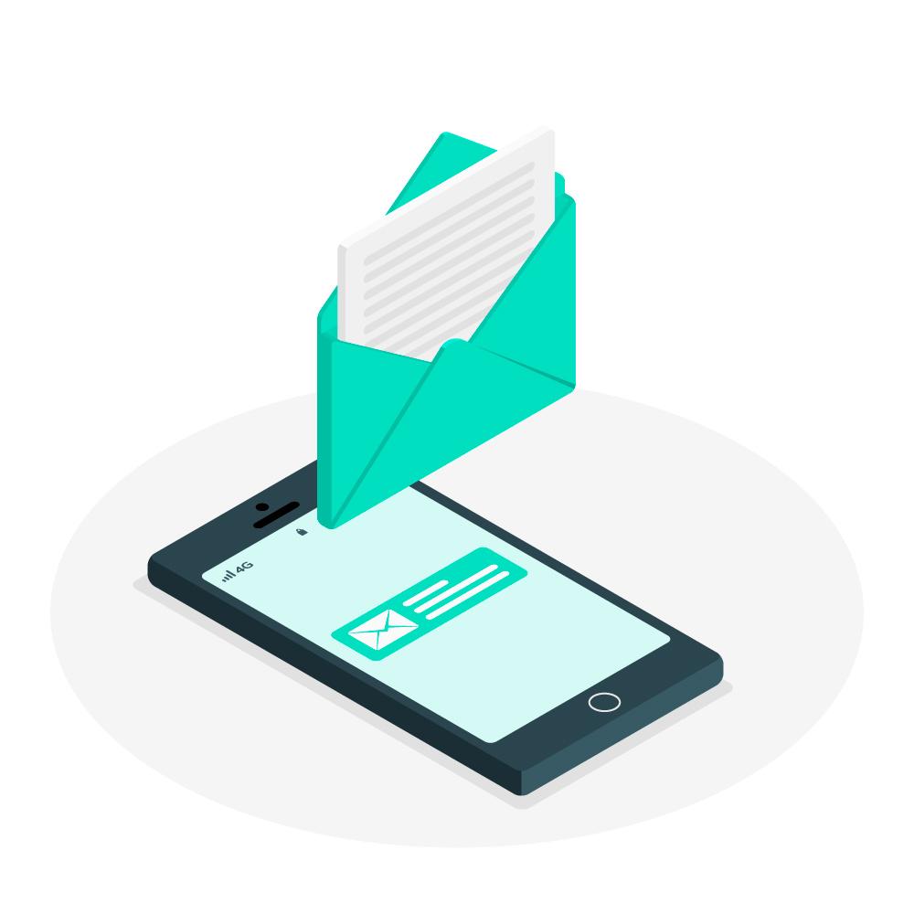 E-Mail marketing & Engagement è rappresento in questa immagine da uno smartphone con la notifica del messaggio sopra cui si libra una busta aperta contenende una lettera che sta venendo estratta. Sotto al telefono vi è un'ombra circolare grigia.