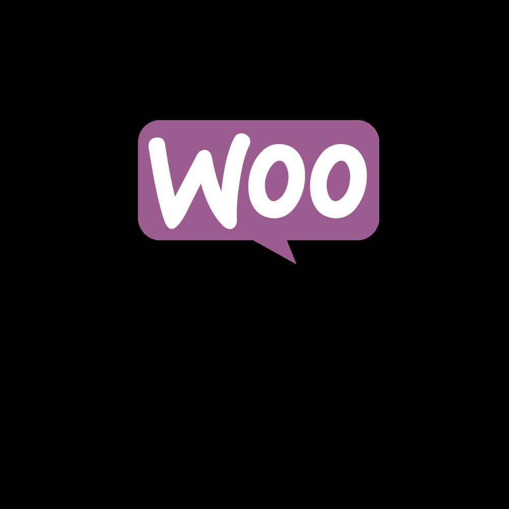 Questa immagine è semplicemente il logo del plugin di wordpress, molto usato nella realizzazione di siti web e-commerce. Il logo ha un design estremamente semplice e chiaro: la classica icona fumettistica rappresentate il parlato con all'interno la parola WOO. Posto esternamente sotto al fumetto vi è la parola COMMERCE.